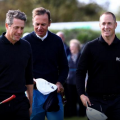 Actor Hugh Grant joined tournament leader Alex Noren on Thursday.
